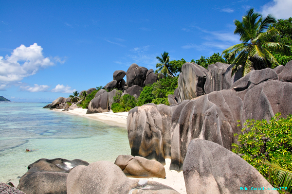 Einer der berühmtesten Strände der Welt: die Anse Source d'Argent auf La Digue (Seychellen)