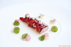 Rote Garnele, appetitlich angerichtet im Restaurant Tim Raue
